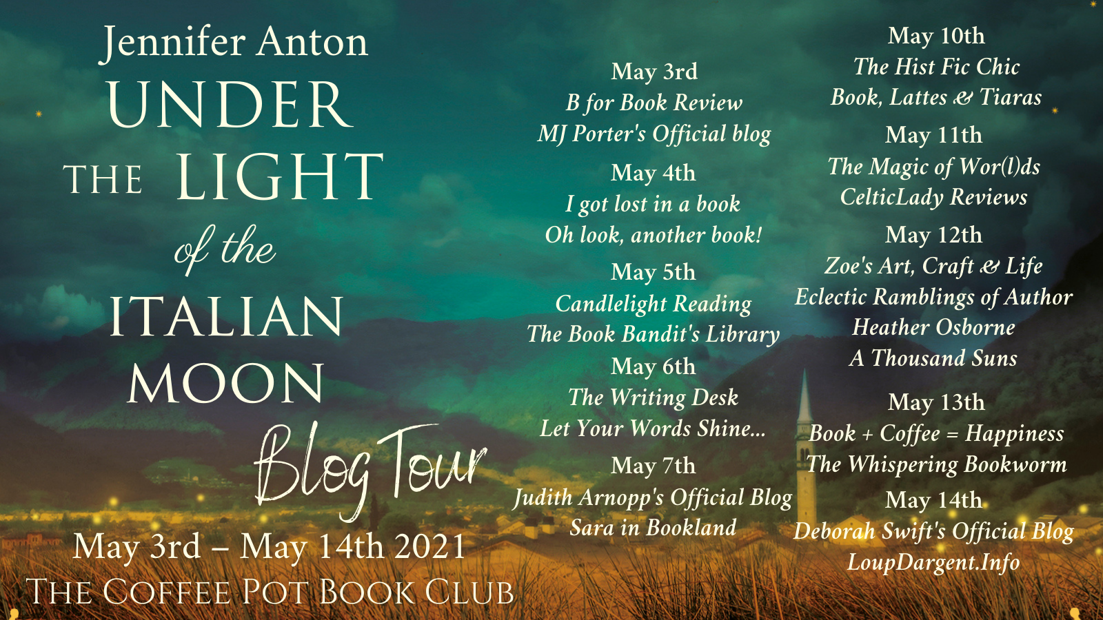 Tour schedule Under the Light of the Italian Moon Tour Banner