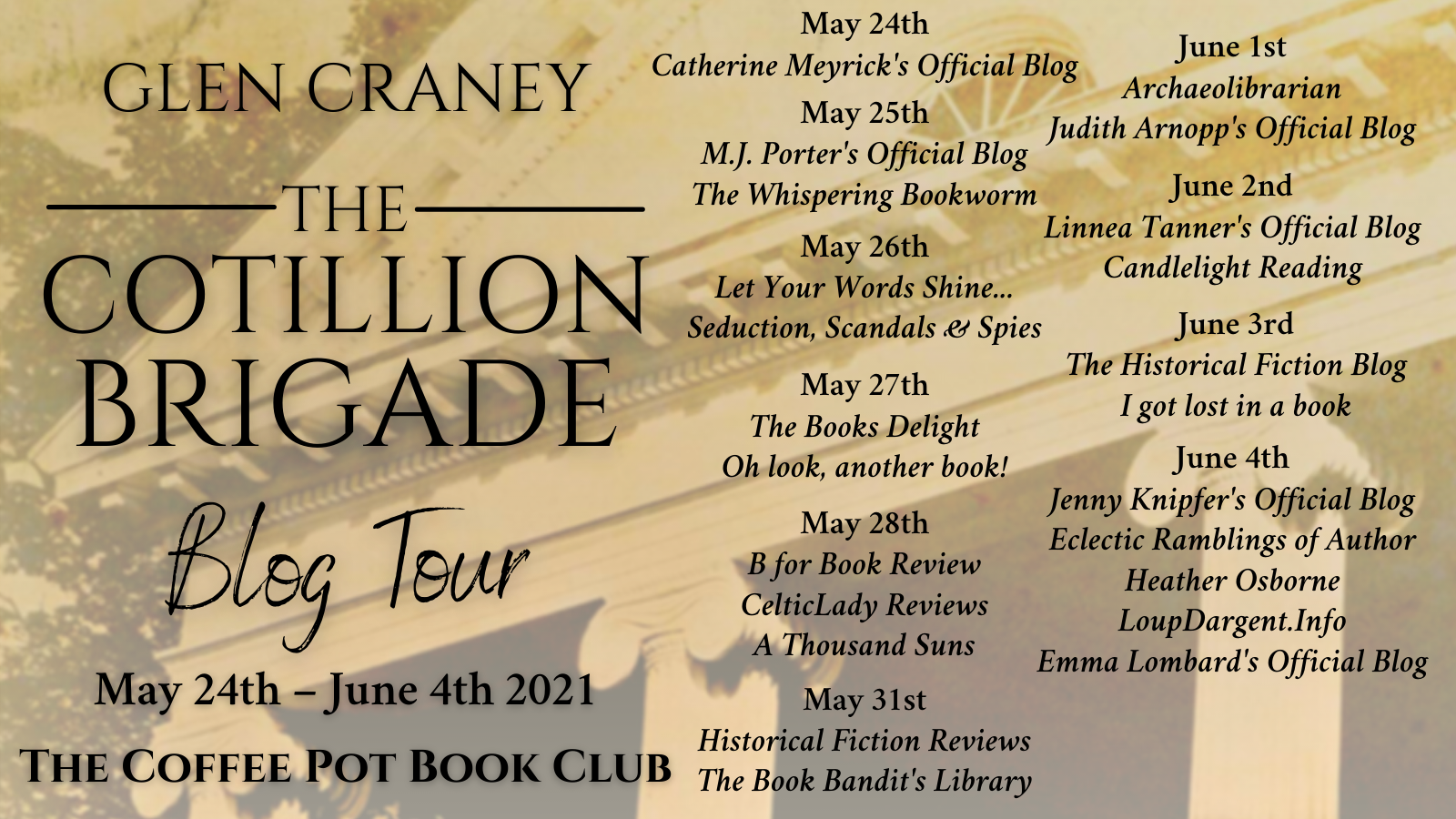 The Cotillion Brigade tour schedule banner