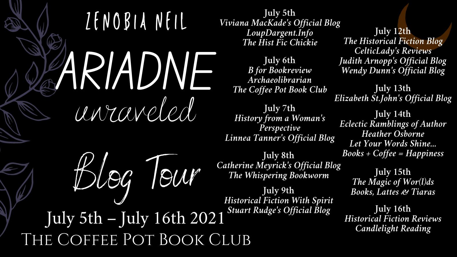 Ariadne Unraveled Tour Schedule Banner